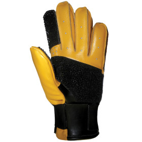 CREEDMOOR FULL FINGER LEATHER BLACK AND YELLOW GLOVE